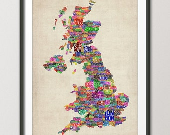 Great Britain UK City Text Map, Art Print (229)