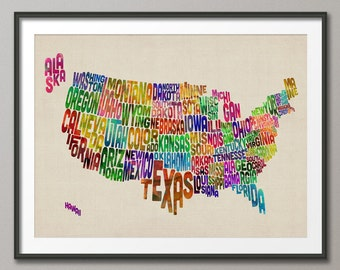 United States Typography Text Map, Art Print (188)