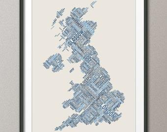 Great Britain UK City Text Map, Art Print (308)