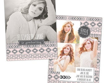 INSTANT DOWNLOAD - Graduation announcement - Photoshop Templates - E842
