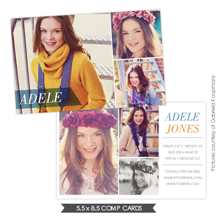 Instant dowload modeling comp card photoshop templates for Free model comp card template psd