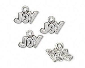 4 Joy  Charms, 13 x 9 mm Antique Silver Charms,  ts171