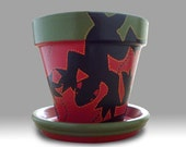 Hand Painted Folk Art Lizard Flower Pot Planter in Red and Green - 6-inch