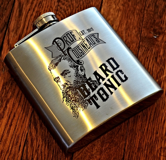 Flask - Custom Engraved Beard Tonic Or Elixir Flask, Personalized Engraved Hip Flask, Steampunk Flask, Groomsman Flask