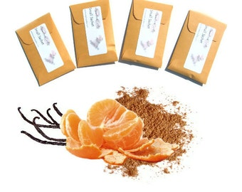 Sachets Scented Soft Spiced Orange Cinnamon Vanilla Home Fragrance Rustic Wedding Favors Seed Envelopes Packets Label and Color Choice