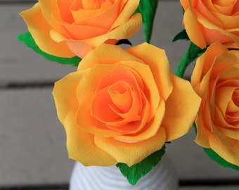 Six realistic looking paper roses for Mother's Day