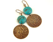 Earrings, Turquoise Magnesite, Embossed Natural Brass Jewelry