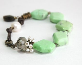 Green Turquoise Bracelet, Leather, Lime green, Mint green, Semiprecious, Magnesite, Smoky quartz, Freshwater pearl, Natural Brass Jewelry
