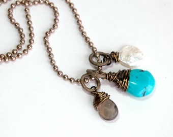 Gemstone Necklace, Blue Turquoise, Smoky quartz, Freshwater pearl, Pendant necklace, Layering necklace, Gift for her, Brass chain, Jewelry