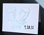 Silver Champagne Wedding Card