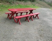 Classic 8' Red Picnic Table with 4 Benches