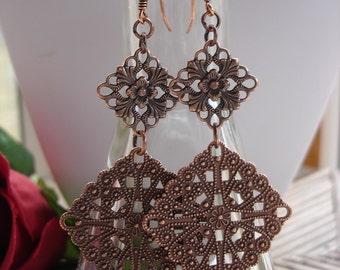 CLEARANCE,Copper Boho Earrings, Copper Filigree Earrings, Everyday Jewelry, Hippie Earrings, Antiqued Copper Jewelry,Statement Earrings,SALE
