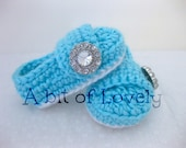 Spring Baby Infant Girl Shoes / Booties - White & Sky Blue Jewel - YOUR choice size - (newborn - 12 months) - photo prop - children