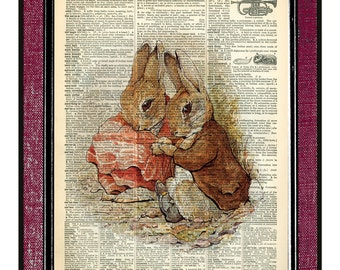 PETER RABBIT & BENJAMIN Wall Decor Book Page Art Dictionary Page Art Wall Hanging Home Decor Kids Decor Rabbit Print Beatrix Potter