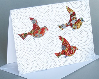 Red Trio: A nature inspired blank card , origami paper , birds