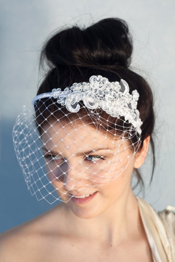 Bridal bow headband with birdcage veil, bridal birdcage on a headband, wedding pearl veil
