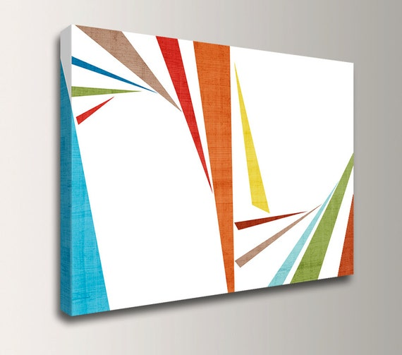 "Mid Century Modern Art - Canvas Print - Teal, Orange, Green and Red - Modern Wall Art - "" Slivers  2 """