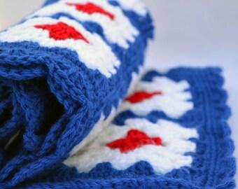 Shark bite crochet baby blanket, granny square reversible crochet baby blanket