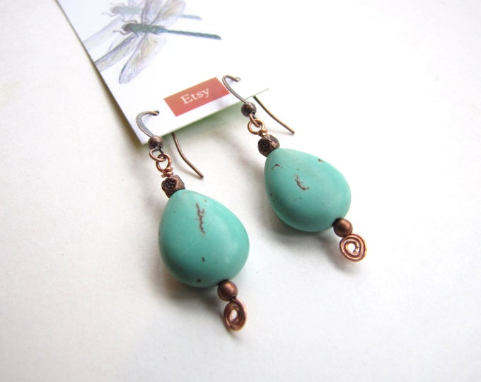 Turquoise Earrings with Blue Stone and Recycled Copper Eco Friendly
