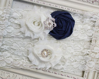 Navy Silk and Lace Bridal Garter Set, bridal garters, ivory garters, wedding garters, boudoir garters, 2 inch lace