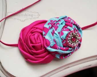 Turquoise and Hot Pink Damask Rosette headband, baby headbands, teal headbands, newborn headbands,hot pink headbands, photography prop