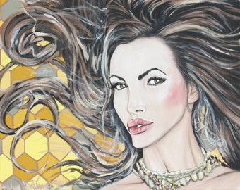 Nikki Benz Acrylic Portrait Painting w Honey Comb background