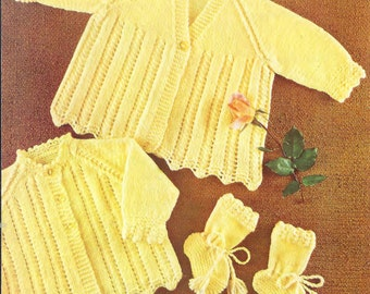Bellmans 1054- QK Matinee Jackets and Bootees 2 styles  18ins - PDF of Vintage Knitting Baby Patterns