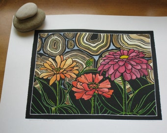 Original linocut print, Zinnias by the Woodpile, open edition, black ink, hand colored