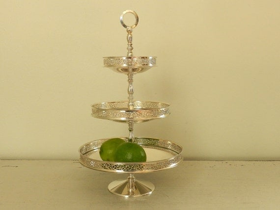 Silver Plated Serving Tray 3 Tier Tray Three Tiered Silver