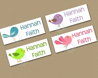 Personalized Waterproof Label Stickers - Girl - cute birdies - Perfect for Bottles, Sippy Cups, Daycare, School - Dishwasher Safe