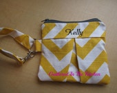 "RESERVED FOR APRIL Navy & White Chevron Pleated Wristlet Clutch with Lining and Zipper - Monogrammed in Yellow ""Dawn"""