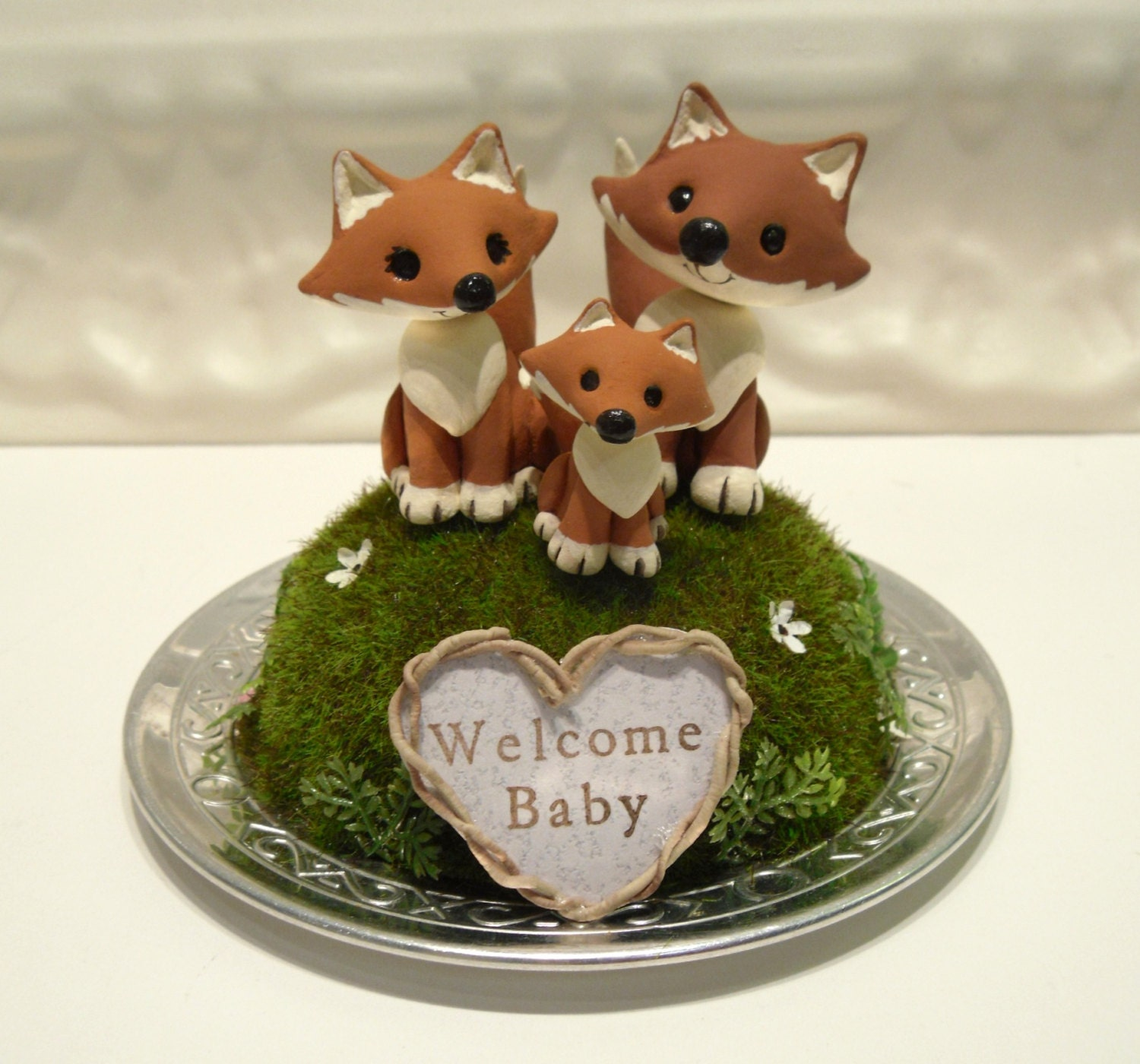 woodland foxes baby shower cake topper custom by workofwhimsy