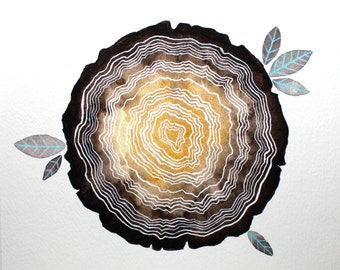 Archival Print - Tree stump - Watercolor Painting - Tree Rings