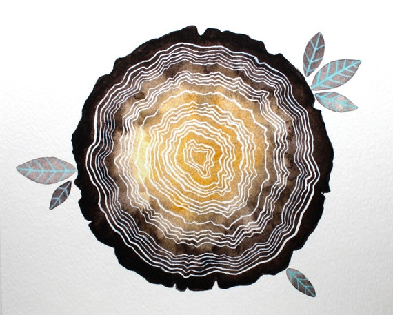 Archival Print - Tree stump - Watercolor Painting - Tree Rings