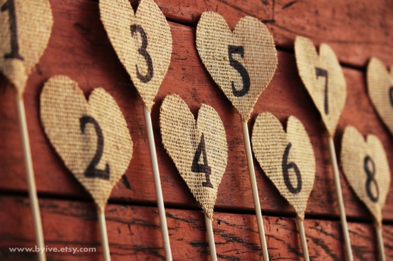 12 Wedding Burlap Table Number. Rustic Wedding Decor. Set of 12 Burlap Heart Table Number.
