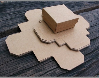 Mini kraft box / gift box / set of 10 boxes / for small package/ size:5.3 x 5.3 x 3 cm.