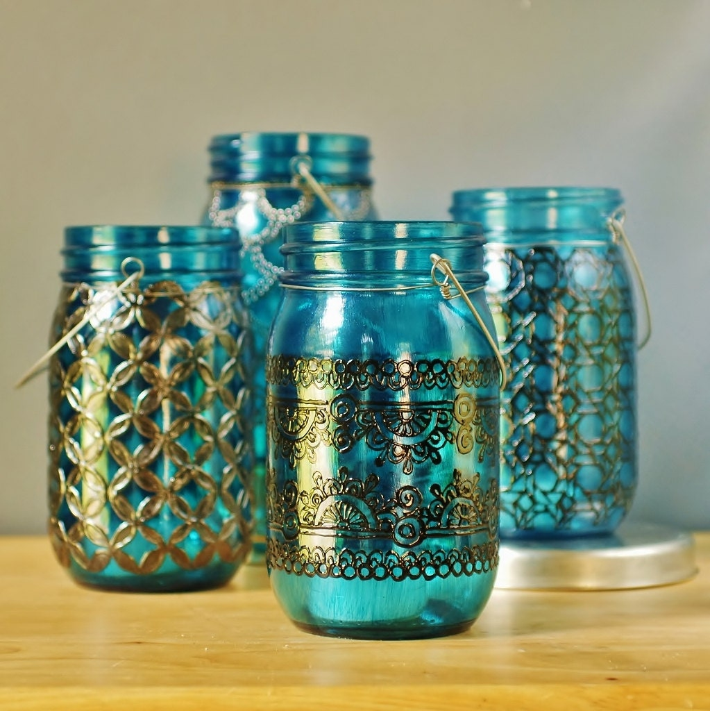 Moroccan Mason Jar Lantern Teal Blue Glass With Black Henna