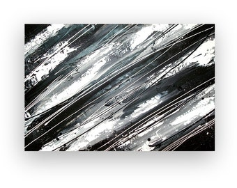 Art,Abstract Painting,Painting,Art,Canvas Art,Acrylic Painting,Original Paintings By Ora Birenbaum Black and White 24x36x1.5""
