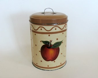 Primitive Hand Painted Tin Metal Canister, Storage Tin Box Canister, Kitchen Home Decor