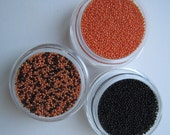 Halloween Holiday Special. Micro Beads for 3D Nail Art. Color Black Orange and Mixed