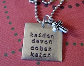 Square mothers necklace personalized handstamped with childrens names