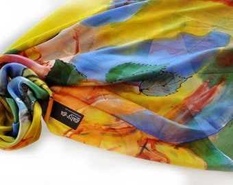 Hand painted silk shawl Silk shawl Woman silk shawl Orange and blue roses Yellow roses Painting shawl Roses Woman accessorie  scarf/S0170
