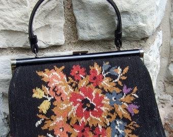 1960s Romantic Flower Tapestry Carpet Bag