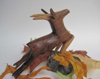 Vintage Primitive Hand Carved Wood Reindeer Gazelle Antelope