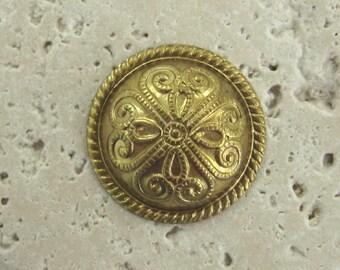 Vintage 20mm Domed Byzantine Brass Findings.  1 dz.
