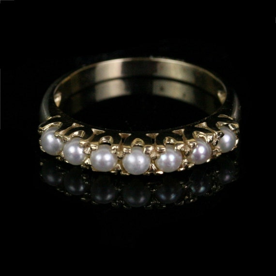 Vintage 10k Gold Pearl Eternity Band Engagement Ring