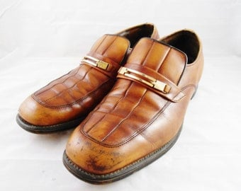 Vintage Mens Leather Slip On Brown Loafer Shoes Gold Buckle Size 10 IRELAND