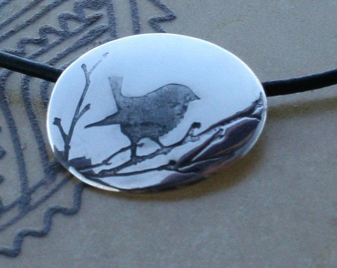 Silver Jewelry, Silver Jewellery, Silver Pendant, Bird Jewelry, Bird on a Branch.