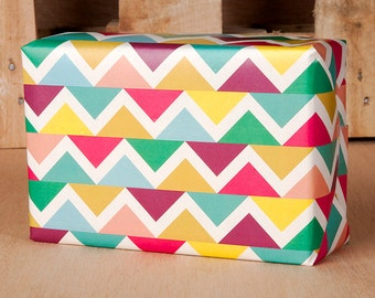Spring Chevron Wrapping Paper / 12 Sheets
