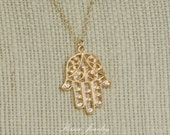 Hamsa Hand Necklace - Hamsa Jewelry - Gold Plated Necklace - Fatima Pendant